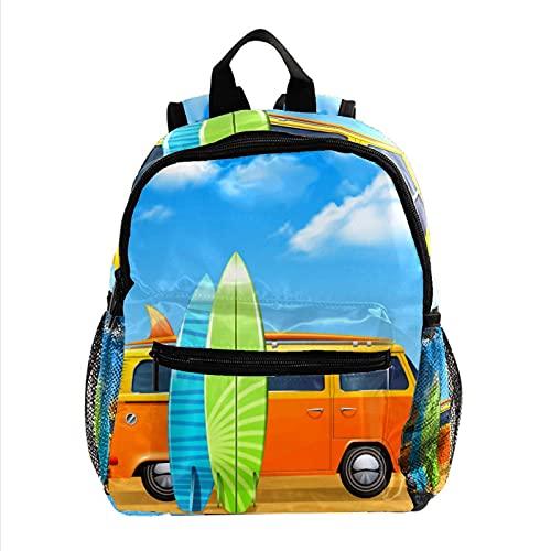Mochila 3-8 Años Autobús con Tablas de Surf Mochila Escolar para niños Mochila de Viaje Color de impresión Mini Backpack para jardín de Infancia Preescolar 25.4x10x30CM