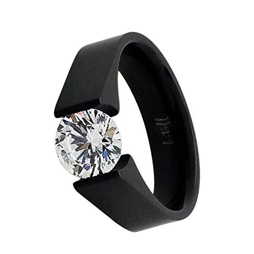 B.Tiff BTiff Signity Star Brighter Than Diamond 2 Ct Round Cut Tension Set Solitaire Ring Black, Gold Silver, Sizes 4-10 (Anodized Titanium, 8) Black Titanium Tension Rings