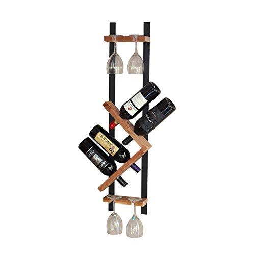 Botellero Bastidor de Vino de Madera forjada, Madera Maciza, Colgante de Vino, Estante de Vino Simple (Puede acomodar 4 Botellas) Vino Estante