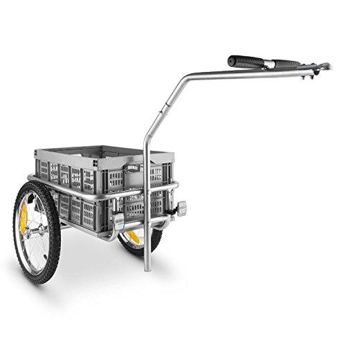 "DURAMAXX Bigbig Box Remolque para Bicicletas Carretilla (40L, Carga Maxima 40kg, Palanca Acoplamiento Fija, neumáticos de 16"" con válvulas de Coche, Carro transportable, Asas, 4 reflectores, Gris)"