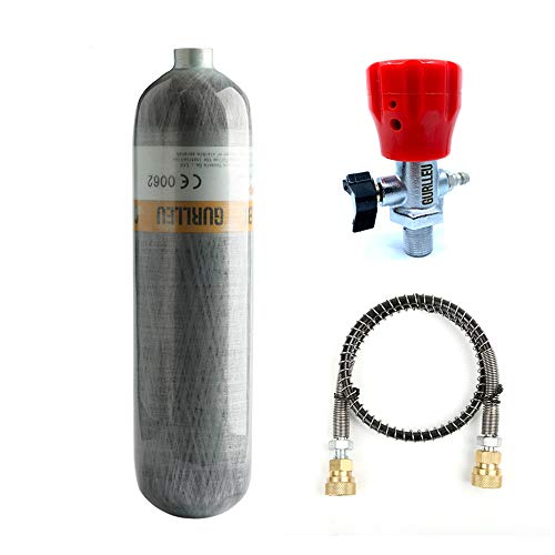Gurlleu Carbon Fiber Air Tank, 30 Cu Ft / 4500 PSI, CE Approved, PCP Paintball Compressed Air System with Regulator Valve (Empty Bottle) (Top Gauge Set)