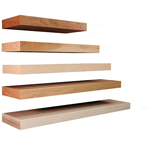 Floating Shelves Solid Wood and Veneer Construction, Maple Shelf Unfinished, 48 x 10 Inches