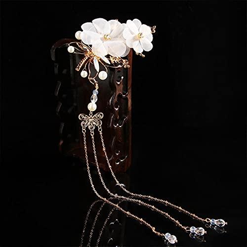 LANMEISM Sombreros 1 unids Chino Hanfu Tradicional Estilo clásico Borla Accesorios para el Cabello Elegante Boda clásico libélula Mariposa Cabeza (Farbe : White)