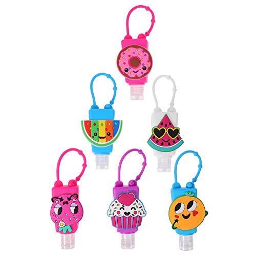 Luxshiny 6 Sätze Kinder Reiseflaschen Schlüsselanhänger mit Silikon Dessert Hülle Weihnachten Mitgebsel Plastik Flip Cap Flasche Leere Seifenspender Shampoo Handgel Duschgel Reisebehälter Zufällig