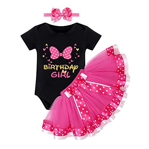 FYMNSI Conjunto de ropa de 3 piezas para bebé y niña, de algodón, de manga corta, con tutú y falda de puntos, para la cabeza, para cumpleaños, 1/2/1/2/3/4/5., Black + Rose - Birthday Girl, 2 Jahre