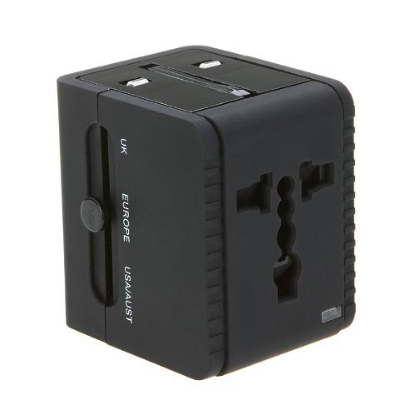 アプトフラスコノベルティSODIAL(R) 2 USBアダプター米国、EU、英国AU100V-240V 2.1A付きユニバーサル充電器用 旅行用 黒