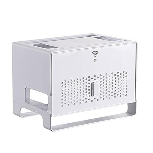 TDSY Estante para Enrutador WiFi Montado En La Pared, Caja De OclusiÓN de Set-Top Box Multifunción, Organizador de Oficina de Plástico para Decoración de la Habitación,White
