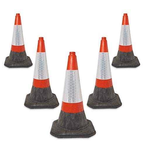 Self Weighted Safety Cone 5 x 750mm Road Traffic Cones 2 Piece