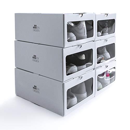 EnOrden - 6 Cajas cartón muy resistente Zapatero Organizador Transparente Apilable Blanca Ecológico, Cartón de fuentes renovables, hasta talla 45 24x13x33cm Ahorra espacio en el guardado del calzado.