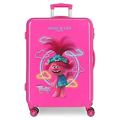 Trolls Music is Life Maleta Mediana Rosa 48x68x26 cms Rígida ABS Cierre combinación 70L 3,7Kgs 4 Ruedas Dobles