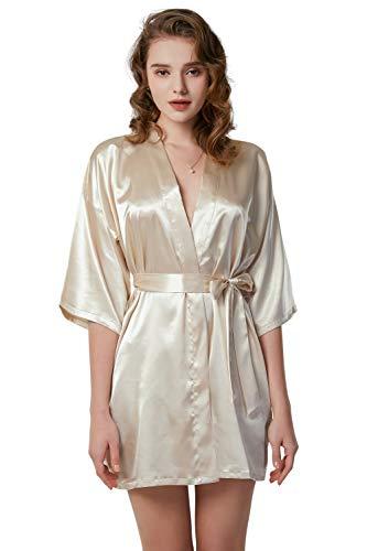 O.AMBW Bata Kimono para Novia Dama de Honor Madrina Mejores Amigas Pijama Cortos para Mujer Camisón Satén Sexy Elegante Albornoz Suave y Ligero M-XXL Ropa de Dormir PreBoda Luna de Miel