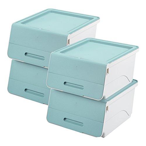 山善(YAMAZEN) オープンボックス フタ付き収納ボックス 4個組 浅型 キャスター付き サンドブルー