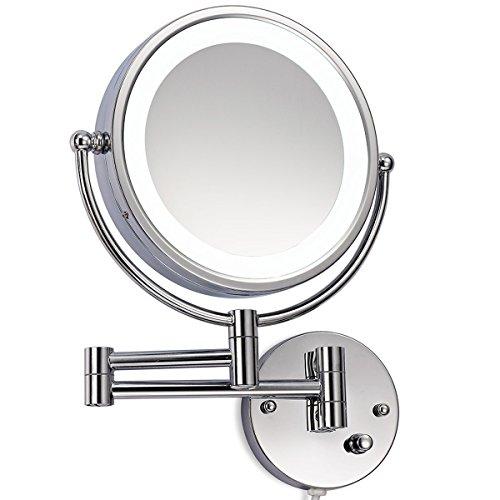 Loywe LED Beleuchtet wunderschöne Kosmetikspiegel für die Wandmontage 3 hohe Vergrößerungsgrade wählbar JL36(7Fach)