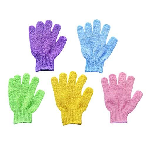 SUPVOX 5 paires de gants de toilette gants exfoliants nettoyage corps mixte (couleurs assorties)