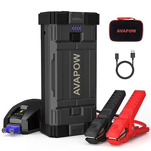 AVAPOW Arrancador de Coches (hasta 8.0L Gasolina / 6.5L Diesel), Arrancador de Baterias de Coche de 2000A 18000mAh, Arrancador Bateria Moto de 12V con Carga Rápida 3.0 USB Dual