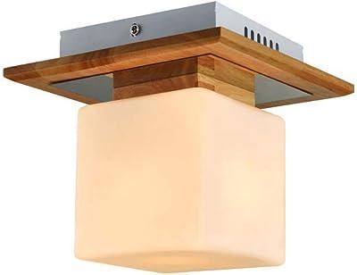 Focos de techo Iluminación de Techo Lámpara de Techo de Personalidad Creativa Cuadrada Lámpara de LED de Cabeza Simple lámpara de Madera de salón 12 * 20cm (4.7 * 7.8 pulg.): Amazon.es: Hogar