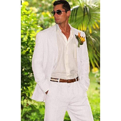 GFRBJK Weiß Elfenbein Leinen Herren Anzug Hochzeitsanzug Für Groomsmen Herren Casual Sommer Strand Maßgeschneiderte Jacke Hosen Pants Wie Bild , XXXL