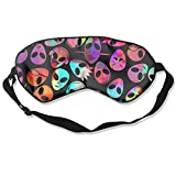 Sleeping Eye Mask Colorful Faces Of Aliens UFO Natural Silk Eye Mask Cover With Adjustable Strap
