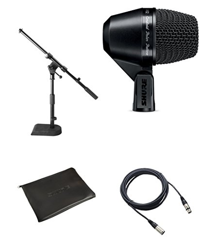 Shure PGA52 Kick Drum Microphone Bundle with XLR Cable and Drum Mic Stand