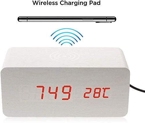 CoverKingz Fast Wireless Charger QI inductie-oplader draadloos voor alle QI geschikte apparaten, Wekker wit