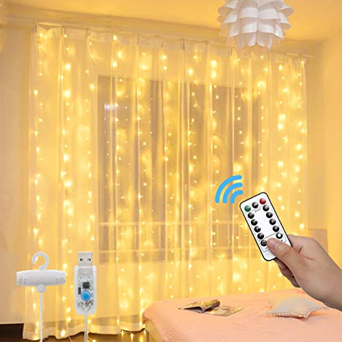 Luci per Tende a LED - 3x3m 300 LED Catene Luminose con Telecomando 8 Modalità Impermeabile LED Tenda Luminosa, Lucine Decorative per Esterno/Interni Camera da Letto Natale (Bianco Caldo)