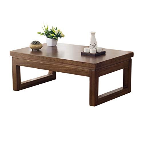 Tables basses Table en Bois Massif Plancher Baie Vitrée Table Tatami Japonaise Balcon Table Ronde Régulière Coin Bas Thé Table Rebord Cadeau (Color : B, Size : 60 * 40 * 30cm)
