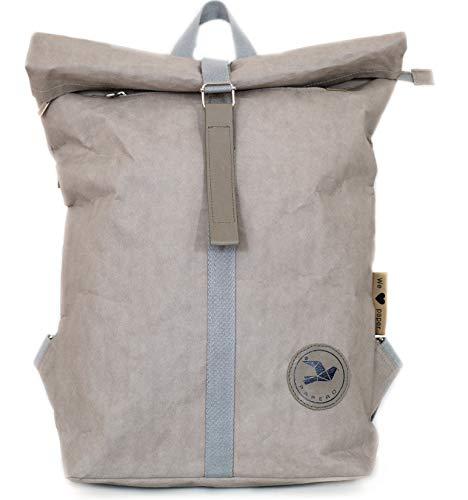 PAPERO® Rucksack aus Kraft Papier - wasserfester & robuster Daypack MINIMALISTISCH für Damen & Herren - Rolltop Tasche & veganem Leder - für Alltag & Uni für 17 Zoll Laptop | nachhaltig (18L, grau)