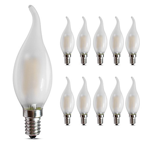 E14 Dimmbare LED Kerzenleuchter, 4W 2700K Warmweiß 400LM, LED E14 Edison-Schraube Kerzenform, C35 Milchglas Flammenform gebogene Spitze, 10er-Pack