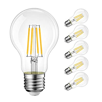 A19 LED Vintage LED Filament Bulb E26 Base?LVWIT Dimmable 9W (75W Equivalent)?2700K Warm White 1100 Lumens?Omnidirectional, UL-Listed, Pack of 6