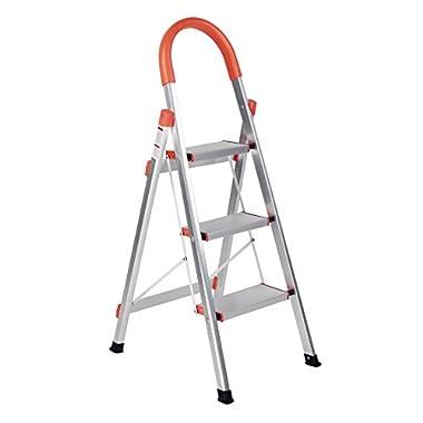 SHAREWIN Aluminum Step Ladder Lightweight Multi Purpose Portable Folding Home Ladder (3 STEPS, orange)