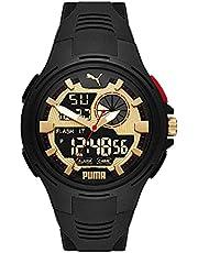 PUMA Herren Bold Analog-digital Three-Hand, Schwarz Polycarbonate Uhr, P5078