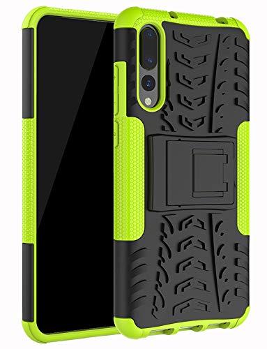 Yiakeng Cover Huawei P20 PRO, Doppio Strato Antiurto Protezione Silicone con Kickstand Rugged Custodia per Cover Huawei P20 PRO (Verde)