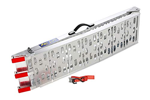 Pro-Lift-Werkzeuge Faltbare Alu - Verladerampe mit 340kg Anhängerrampe 2 Schraubstützen als Mittellager für maximale Stabilität Materialstärke tragende Teile 2mm bis 3mm Auffahrrampe
