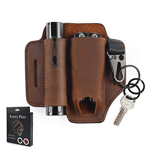 Funda de piel natural, para hombre de piel, organizador de bolsillo con soporte para llaves para cinturón y linterna multiherramienta (marrón oscuro)