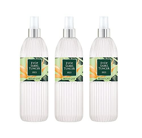 Eyüp Sabri Tuncer Eau de Cologne White Tea 150 ml Plastic Bottle Spray I Perfume I Fragancia I Té Blanco I Eau de Colonia Spray (3 unidades)