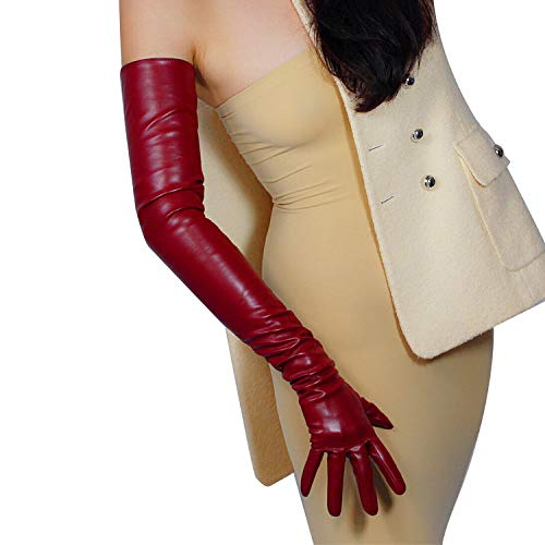 DooWay New Women Long Leather Dress Gloves 28 Inches Soft Faux Leather Fashion Accessory for Evening Party Costume Cosplay Burgundy