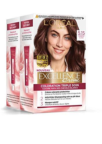 L'Oréal Paris - Excellence Crème - Coloration Permanente Triple Soin 100% Couverture Cheveux Blancs - Nuance 5,15 Marron Glacé - Lot de 2