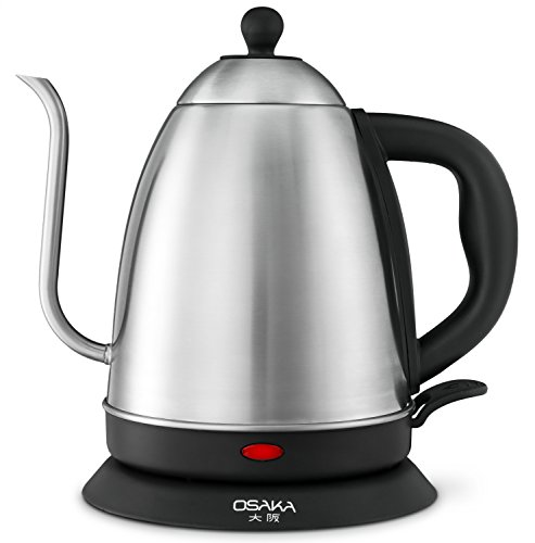 Osaka, 1.5 Liter Electric Quick Boil Gooseneck Water Kettle for Drip Coffee – Accurate Flow Control And Fully Stainless Steel Interior Tea Kettle - Perfect For Manually Brewed Pour Over Coffee and Tea