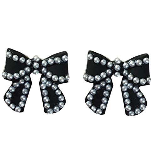 Yhhzw Jewelry Black Bow Earrings Full Of Simulated Small Pearls Earrings For Women Lady Gift