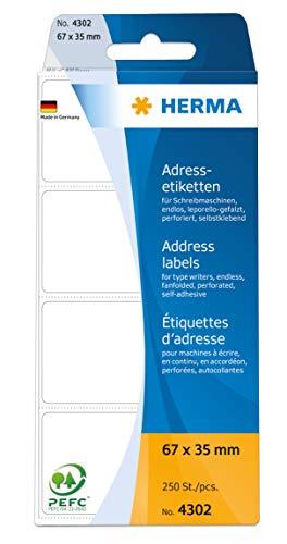 HERMA 4302 Adressaufkleber für Schreibmaschinen, endlos (67 x 35 mm, Papier, matt, leporello-gefalzt) selbstklebend, permanent haftende Adressetiketten, 250 Klebeetiketten, weiß