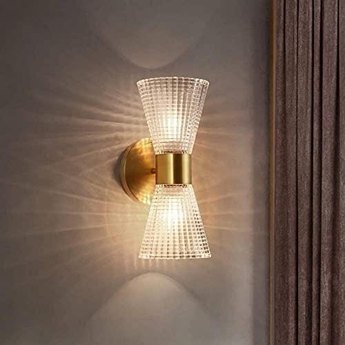 Vägglampa, industriell dubbelhuvad vägglampa upp och nerbelysning Vägglampor Guldfinisharmaturer med gitterrandig glasskärm E14-sockel Inomhusvägglampor Perfekt heminredning