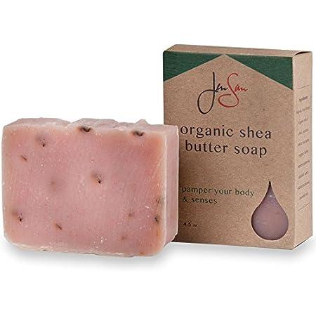 Jensan Handmade Patchouli Rose Exfoliating and Moisturizing Natural Organic Shea Butter Soap Bar