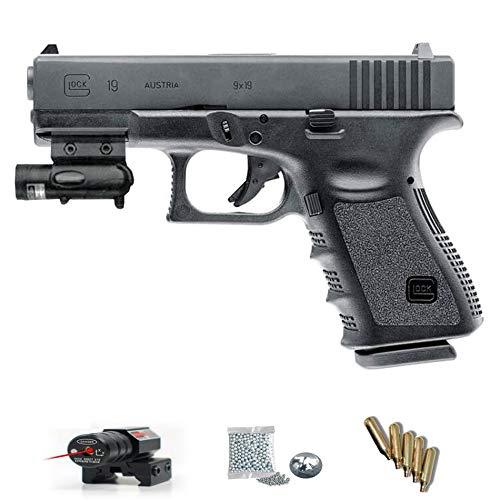 Glock 19 (Umarex - Pack Pistola de Aire comprimido (CO2) y balines de Acero (perdigones BBS) Calibre 4.5mm. Réplica Arma de precisión <3,5J