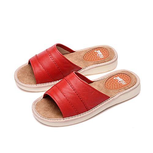 LNLJ - Zapatillas de piel para hombre y mujer, color naranja