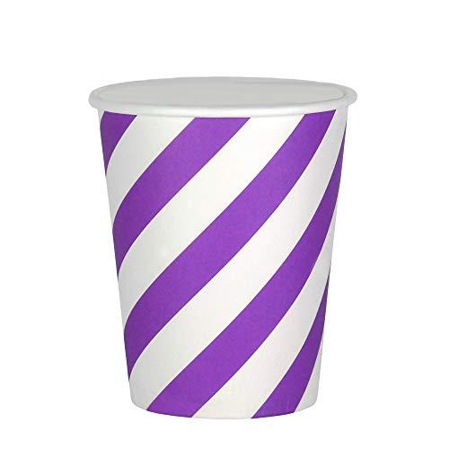 EinsSein 48x Bicchiere di Carta Fascia 53x75x88mm Bianco-Lilla Decorazioni tavola Matrimonio festoni Natalizi centrotavola tovaglioli Piatti di sottopiatti Tazza addobbi per Esterno Bicchieri