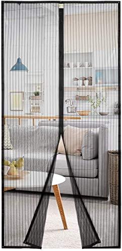 Homitt Magnet Fliegengitter Tür 100×220cm Magnet Insektenschutz Tür, Anti-Riss-verstärktes Oberteil, Rahmen-Klettverschlüsse für Balkontür Wohnzimmer Terrassentür, Klebemontage Ohne Bohren