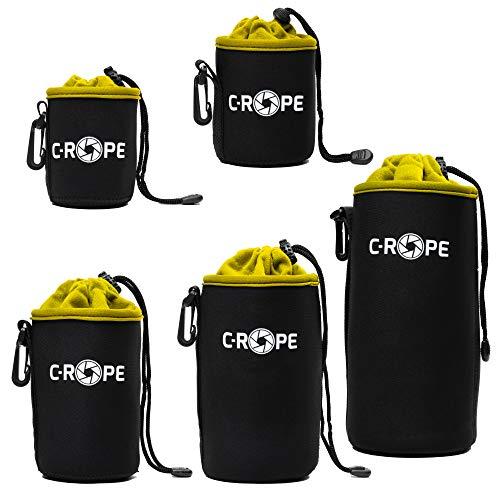 C-Rope Neopren Objektivbeutel mit Fleece-Fütterung als Schutz für Objektive oder Kamerazubehör, (5er Set), Größe XS, S, M, L, XL