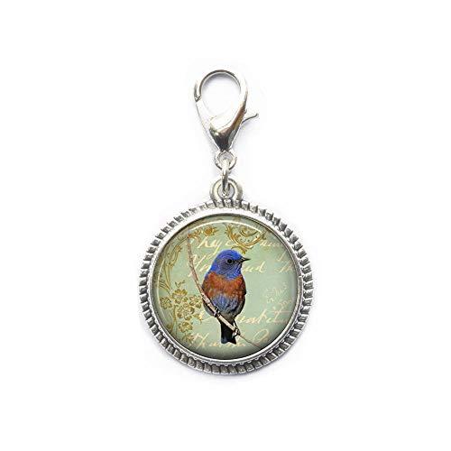 Bluebird Collage cremallera, ideal para collares, pulseras, llavero y pendientes encanto, encanto azul bisutería hecha a mano