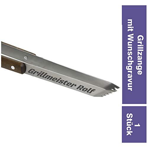 Personalisierte Lange Grillzange mit Gravur -ZUM SELBST GESTALTEN- aus Edelstahl mit Holzgriff aus Robustem Birkenholz | 33cm Küchenzange mit Namen | Vatertagsgeschenk (Mit Gravur)
