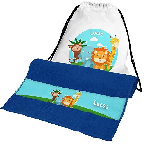 Eurofoto Handtuch + Turnbeutel Set mit Namen Lucas und Zoo-Tiere-Motiv für Jungen | Handtuch und Turnbeutel Bedruckt |